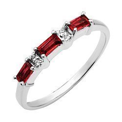 Серебряное кольцо с гранатами и фианитами 000133475