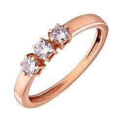 Золотое кольцо в красном цвете с фианитами 000071058