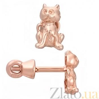 Детские сережки из красного золота Кот и мышка TNG--500021