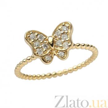 Золотое кольцо в жёлтом цвете с цирконами Батерфляй 000021525