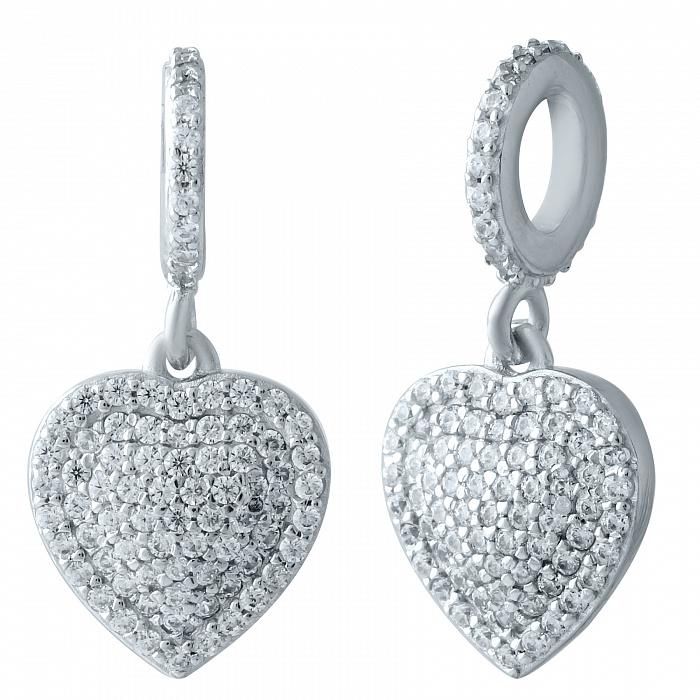 Серебряный шарм Сердечко с кристаллами циркония 000078278