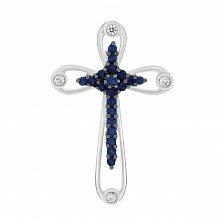 Золотой крест Ирма в белом цвете с сапфирами и бриллиантами