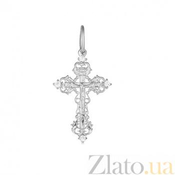 Серебряный крестик с фианитами Обитель любви 000028540
