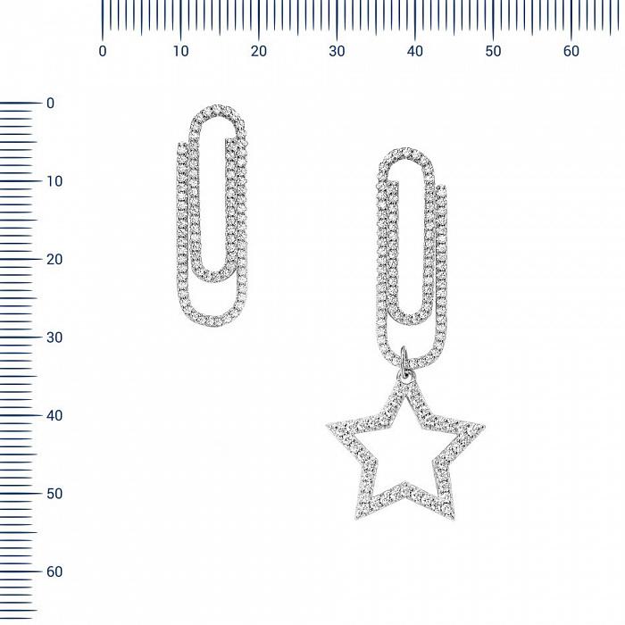 Серебряные серьги Скрепки с фианитами 000081951