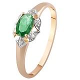Золотое кольцо с изумрудом и бриллиантами Руфина