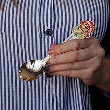 Детская серебряная ложка Львёнок с разноцветной эмалью