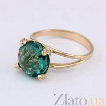 Золотое кольцо Джозефина с синтезированным аметистом и фианитами 000024461