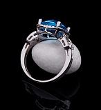 Золотое кольцо Атлантик с голубым топазом и бриллиантами