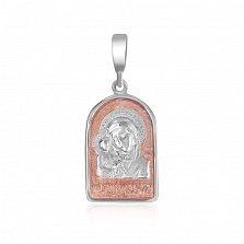 Серебряная ладанка Божья Матерь Казанская с позолотой