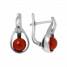 Серебряные серьги-подвески Магда с красным кораллом