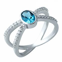 Серебряное кольцо с топазом лондон и фианитами 000074253