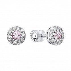 Серебряные серьги с розовыми и белыми фианитами 000133673