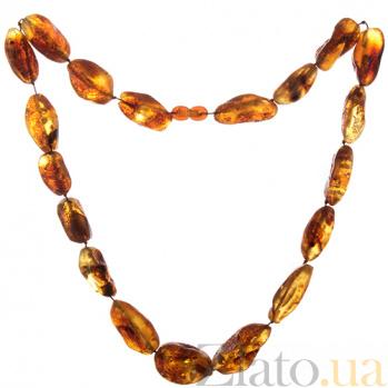 Натуральные янтарные бусы Сильва с полупрозрачными камнями 000054213