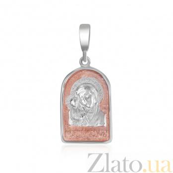 Серебряная ладанка Божья Матерь Казанская с позолотой 000025197
