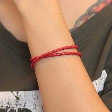 Красный многослойный кожаный браслет Мирра с серебряным замком, 3мм
