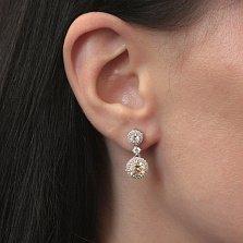 Серебряные пуссеты-подвески Шанья с шампаневыми и белыми фианитами