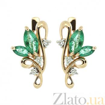 Золотые серьги с бриллиантами и изумрудами Клара ZMX--EE-5002_K