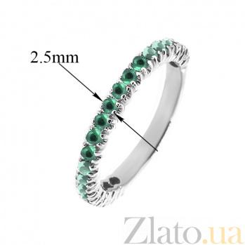 Золотое кольцо в белом цвете с изумрудами Каприз ZMX--RE-15011w_K
