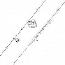 Серебряный браслет Валенти с сердечком-подвеской и бусинами