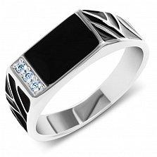 Серебряный перстень-печатка Оскар с фианитами, эмалью и узорной шинкой