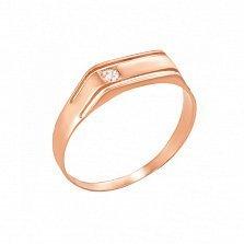 Перстень в красном золоте Решительность с фианитом