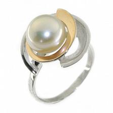 Серебряное кольцо с золотой вставкой и жемчугом Самара