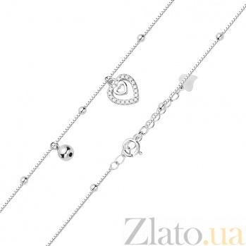 Серебряный браслет Валенти с сердечком-подвеской и бусинами 000113861