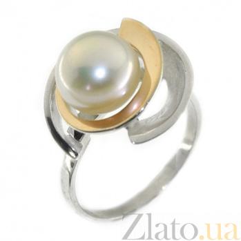 Серебряное кольцо с золотой вставкой и жемчугом Самара BGS--066к