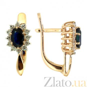 Золотые серьги с бриллиантами и сапфирами Малинки ZMX--EDS-5526_K