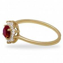 Золотое кольцо Дыхание Востока в красном цвете с рубином и белыми фианитами