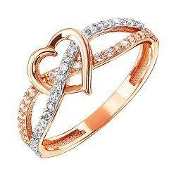 Кольцо из красного золота с фианитами и родированием 000127996