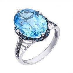 Золотое кольцо в комбинированном цвете с голубым топазом и синими бриллиантами 000139416