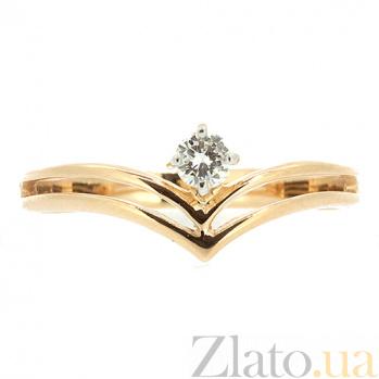 Кольцо из красного золота с бриллиантом Лерден 000021443