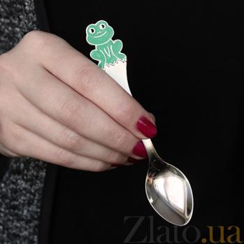 Серебряная чайная ложка с эмалью детская Лягушка ZMX--1285_1090