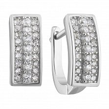 Серебряные серьги с фианитами 000132434