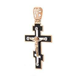 Золотой крестик Объятия Христа с фианитами и эмалью 000046454