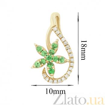 Золотой подвес с цаворитами и бриллиантами Весенний цвет 000026766