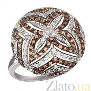 Кольцо из белого золота с белым и коньячным цирконием Азала VLT--ТТ1074