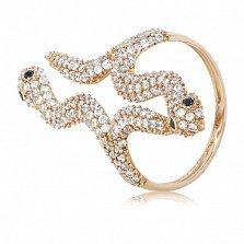 Золотое кольцо с кристаллами циркония Змейки