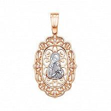 Ладанка в красном и белом золоте Божья матерь Казанская с фианитами