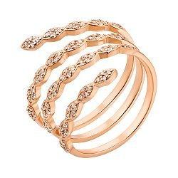 Золотое широкое кольцо в красном цвете с фианитами 000119391