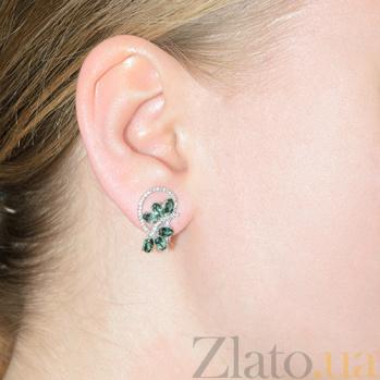 Серебряные серьги с зеленым кварцем Вуаль 2325/9р зел кварц