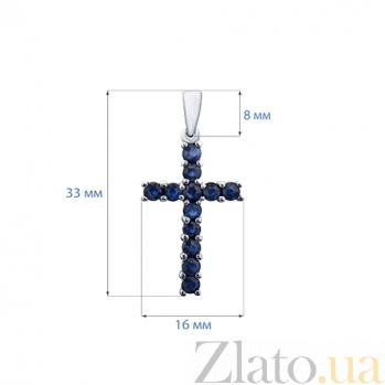 Серебряный крест с сапфирами Небесная синева AQA--P00522S