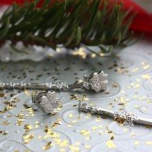 Серебряные серьги-трансформеры Аделаида со снимающейся подвесной частью и фианитами