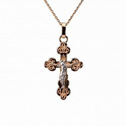 Золотой крестик Святой Покровитель в комбинированном цвете 000050825