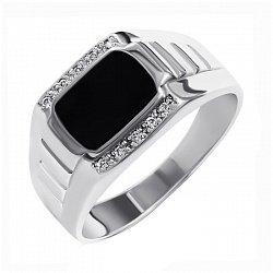 Серебряный перстень-печатка с дорожками белых фианитов и черной эмалью 000093481