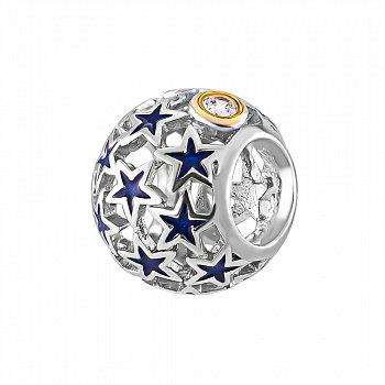 Срібний шарм з синьою емаллю і фіанітами 000116388