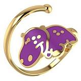 Золотое кольцо Бегемотик с эмалью