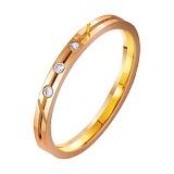 Золотое обручальное кольцо Желание с фианитами