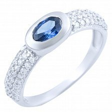 Серебряное кольцо Алсу с синтезированным танзанитом и фианитами